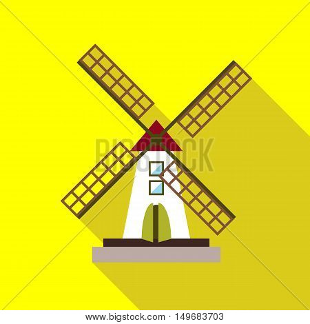 Mill icon in flat style with long shadow. Mechanism grinding flour symbol vector illustration