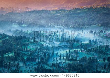 Cemoro lawang village at mount Bromo in Bromo tengger semeru national park East Java Indonesia