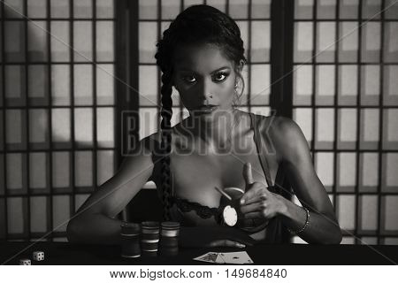 Female Poker Player. Black And White.