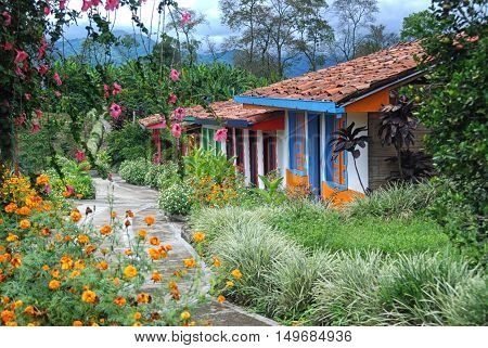 A row of casitas for workers on a coffee plantation.