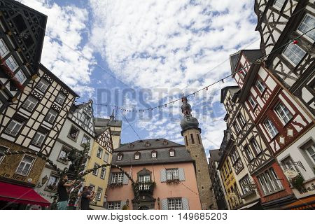 Cochem, Rhineland-palatinate/ Germany - Aug 20, 2016: Cityscape Of Cochem With Its Typical Half-timb