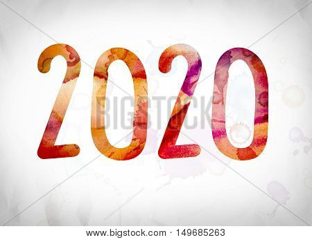 2020 Concept Watercolor Word Art