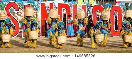 BOHOL PHILIPPINE,S 26 July 2015 - Performers in the Sandugo festival street dancing competitions