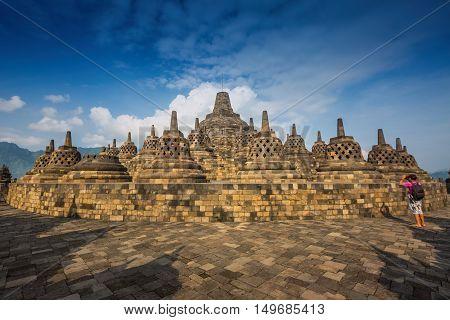 Borobudur old Temple at Jogjakarta Java, Indonesia.