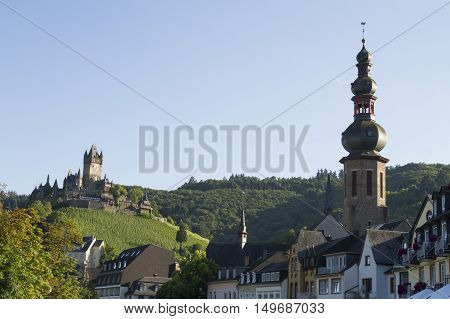 Cochem Germany - Aug 20 2016: Cityscape of Cochem with view of the Castle