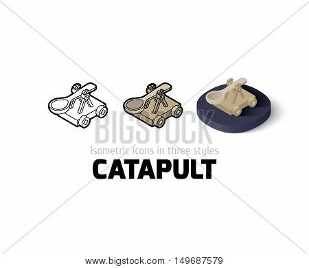 Catapult icon, vector symbol in flat, outline and isometric style