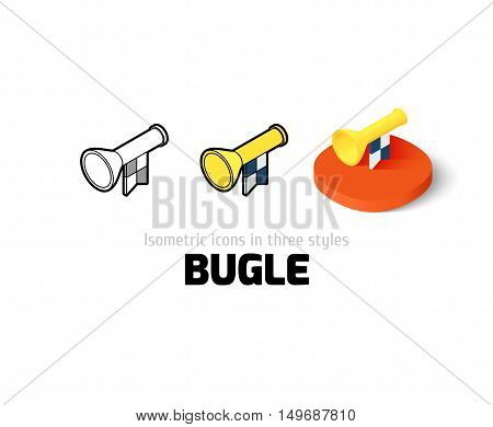 Bugle icon, vector symbol in flat, outline and isometric style