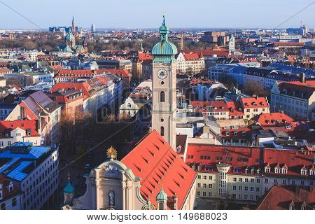 Beautiful Super Wide-angle Sunny Aerial View Of Munich, Bayern, Germany With Skyline And Scenery Bey