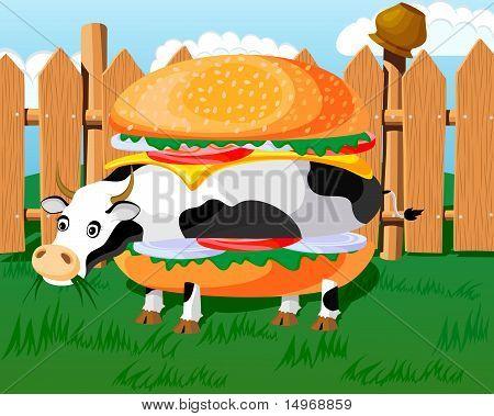 Conceptual hamburger, looks like a cow, fast-food parody. poster