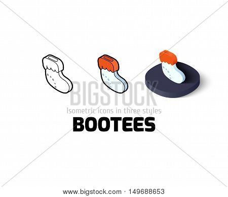 Bootees icon, vector symbol in flat, outline and isometric style