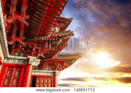 Chinese ancient architecture Nanchang Poetic local evening landscape.