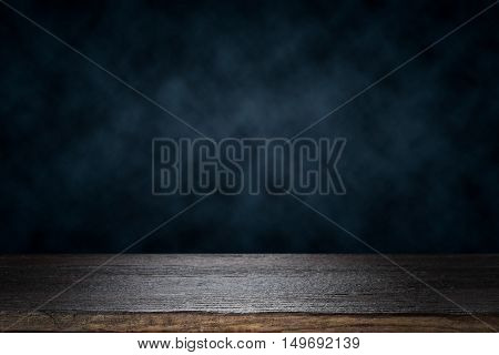 Empty Wooden Table Platform Over Dramatic Dark Cloud Background For Present Product