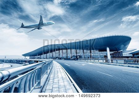 The plane is flying through China's Changbei Airport T2 location