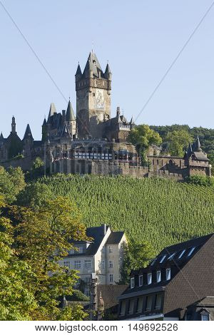 Cochem Germany - Aug 20 2016: View of the Castle of Cochem Germany. It is the largest hill-castle on the Mosel river.