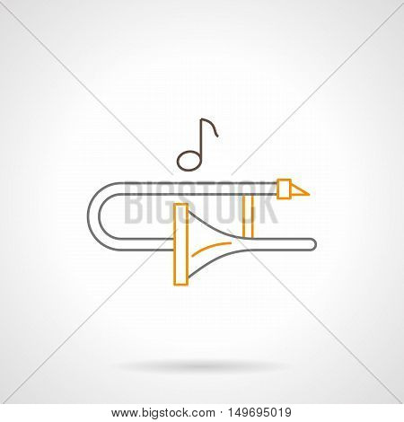 Trombone and one music note. Orchestra melodies. Brass and woodwind musical instruments. Black and yellow flat line vector icon.