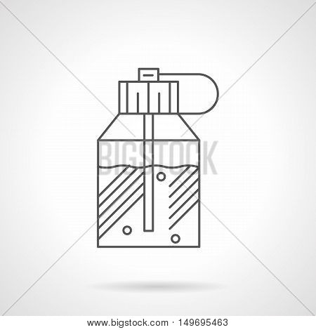 Perfume in stylish modern bottle. Spraying container with scented water, lotion, fragrances. Black flat line vector icon.