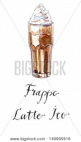 Frappe latte iced coffee drink in a tall glass with cream