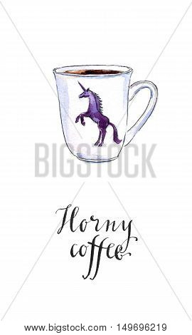 Horny coffee dark unicorn on a white cup hand drawn - watercolor Illustration