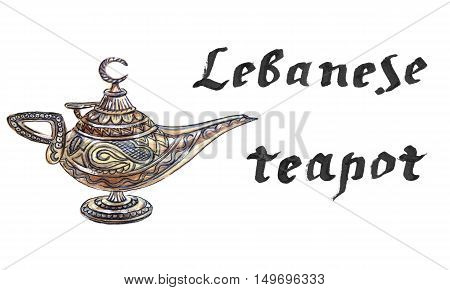 Magic lamp from the story of Aladdin with Genie. Aladdin's Oriental eastern candle lamp with a Djinn. Hand drawn - watercolor Illustration