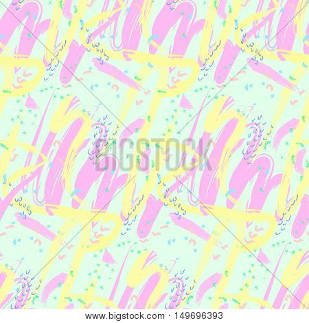 Seamless abstract pattern of various shapes smear soft pastel colors in an arbitrary manner. Background. Vector illustration