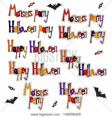 Set cartoon words and phrases for greetings Happy Halloween Halloween party for an ad. Isolated. Vector illustration