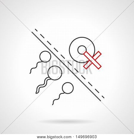 Human spermatozoas near egg cell with red crossed sign. Symbol of risk of infertility caused by smoking. Heavy and unpleasant effects of nicotine addiction. Black flat line vector icon.