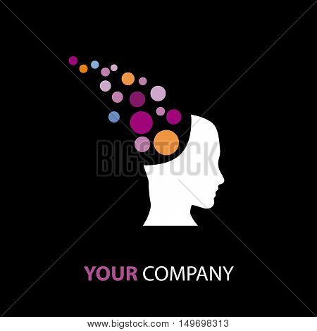 Vector sign mentalist head with balls on black