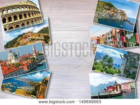 The collage from photos of Italy on white wooden background
