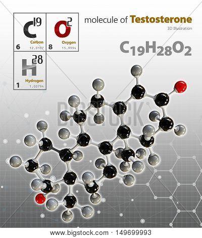 Illustration Of Testosterone Molecule Isolated Grey Background