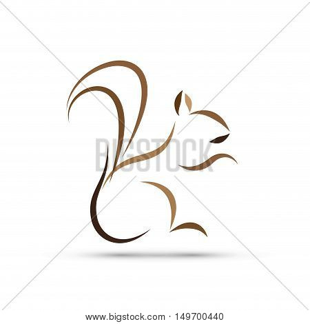 Vector sign abstract squirrel, isolated on white