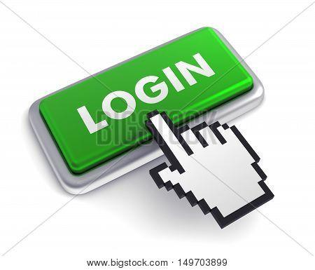 login 3d illustration isolated on white background
