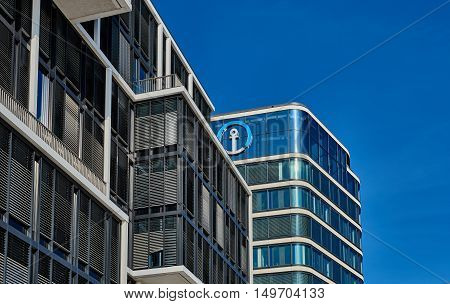 HAMBURG, GERMANY - MARCH 26, 2016: Office building contrasts with blue sky