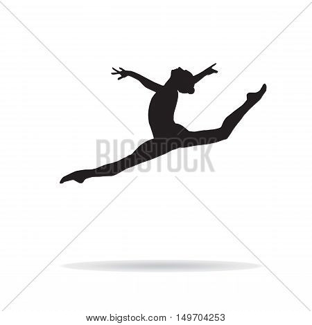Gymnastics girl silhouette on white background. Olympic athlete. Vector illustration. Gym, dance, drawing illustration.