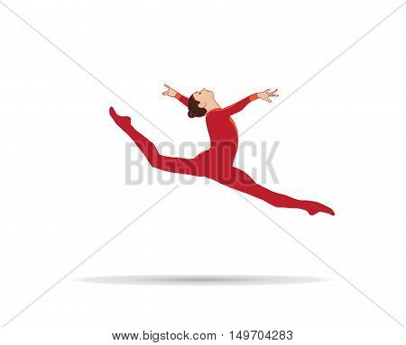 Young gymnast woman silhouette, performing rhythmic gymnastics element, jumping doing split leap in the air, isolated on white background. Vector Illustration. Junior Gymnastics illustration.