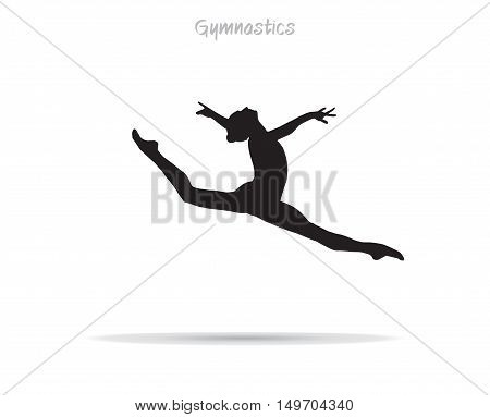 Silhouette of gymnastics girl jumping on white background. Vector illustration. Gym, Dance, Gymnastic banner.