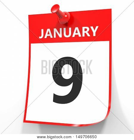 January 9. Calendar On White Background.