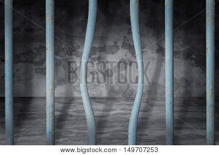 Prison or jail bended metal bar background