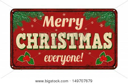 Merry Christmas Everyone, Vintage Metal Sign