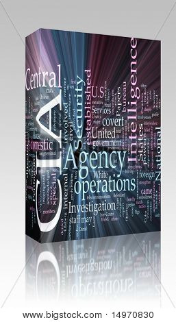 Software package box Word cloud concept illustration of  CIA Central Intelligence Agency glowing light effect