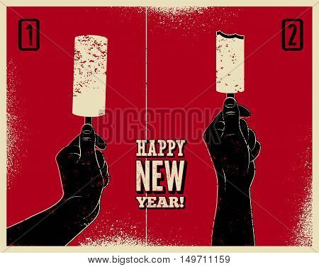 Happy New Year! Typographic grunge vintage Christmas card design with ice cream funny instruction. Hand holds ice cream. Retro vector illustration.