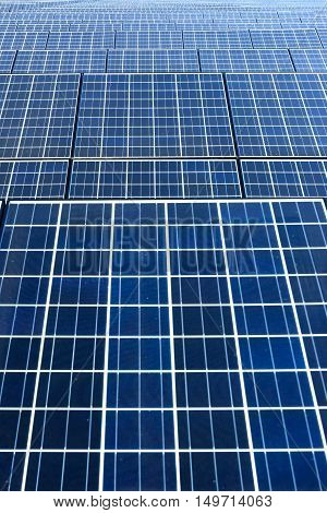 Vertical shot of Solar cell panel on the ground