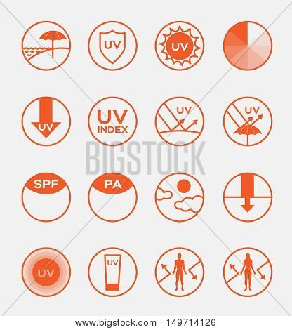 uv logo and icon sets spf vector, 16 orange uv set