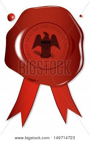 A wax seal with a the state seal of Mississippi