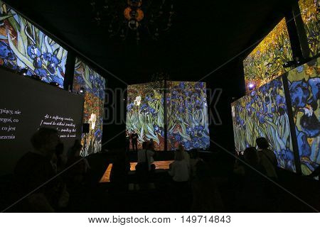 CRACOW, POLAND - AUGUST 18, 2016:The exhibition Van Gogh Alive - The Experience at The Old Train Station in Krakow. Poland