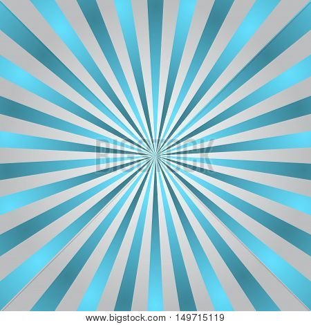 Blue gray rays poster. Popular ray star burst background television vintage.  Vector Illustration