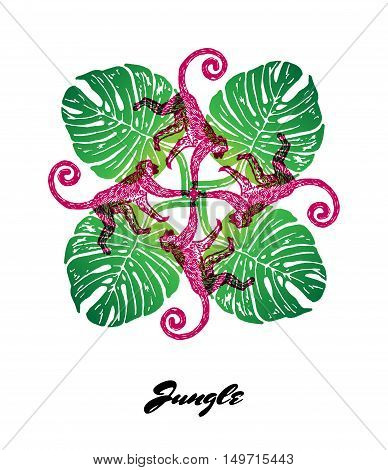 Jungle mood engraved fractal outlet composition. Bright colored composition with Jungle fauna and flora. Vector Illustration.