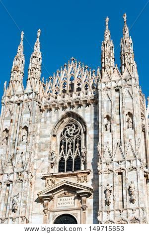 Detail of the facade of the Duomo di Milano (Milan Cathedral 1418-1577). Church monument symbol of Lombardy and of Italy.