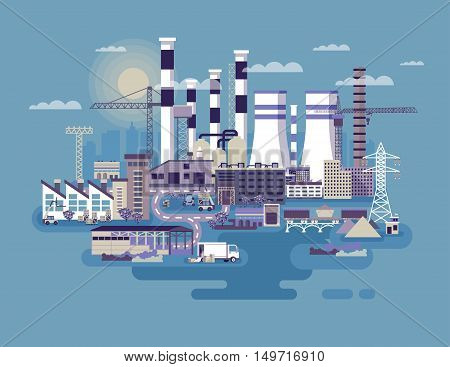 Stock vector illustration of an industrial zone with factories, plants, warehouses, enterprises in the flat style