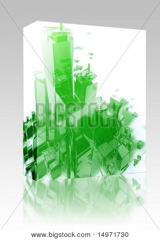Software package box Abstract generic city with exploding breaking apart illustration poster