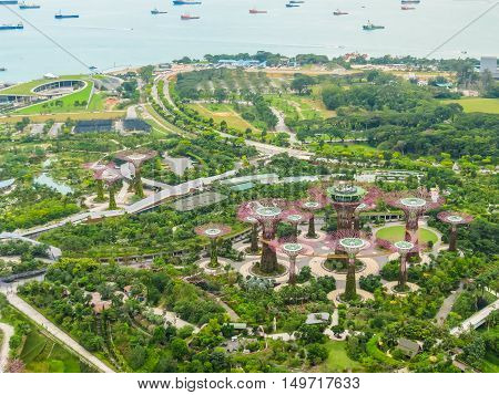 SINGAPORE, REPUBLIC OF SINGAPORE - JANUARY 09, 2014: Singapore city skyline. Aerial view of Supertree Grove, Gardens by the Bay, Singapore